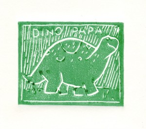 A Dino in Lino Cut