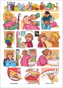 A page how to brush one's teeth in childrens age. - Hinweise zum Zähneputzen im Kinderalter.