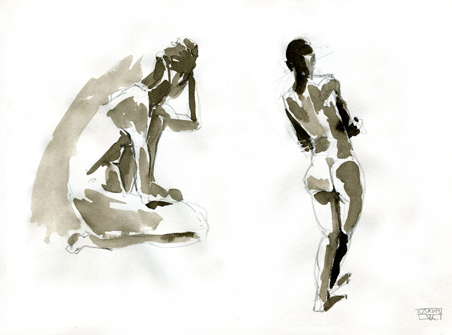 Aktzeichungen Volker Konrad - Female Nude Sketches Volker Konrad - Pencil and Indian Ink