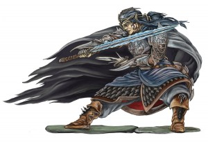 fighting elf in armour with magic sword
