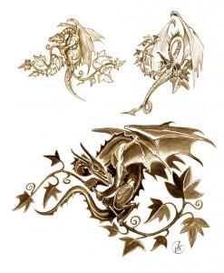 dragon sitting an an ivy's tendril
