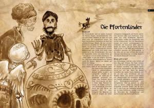 Pages starting chapter on the Pfortenländer-Level from the Los Muertos RPG. Kapitelstartseite des Pfortenländer-Ebene aus dem Los Muertos RPG.
