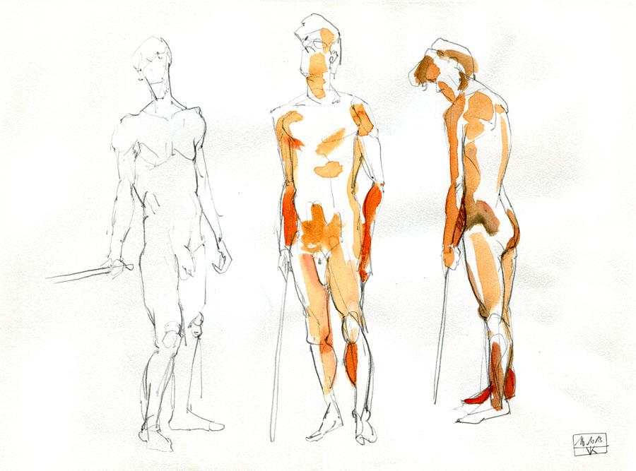 Aktzeichungen Volker Konrad - Male Nude Sketches Volker Konrad