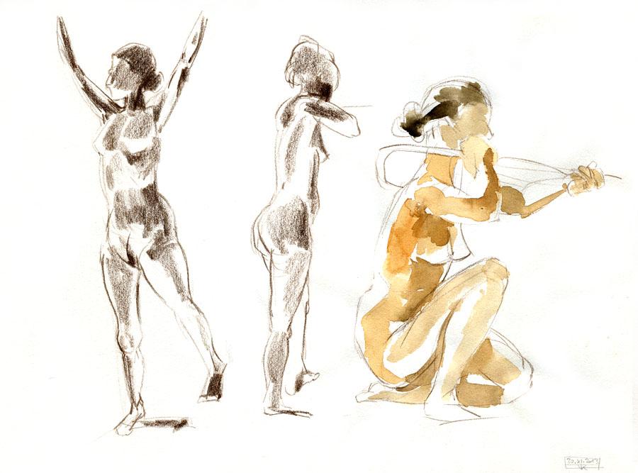 Aktzeichungen Volker Konrad - Female Nude Sketches Volker Konrad - Colouring Pencil and Water Colours