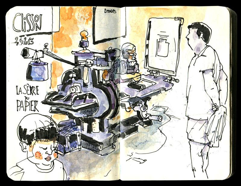 Skizzenbuch 2013 - Druckerpresse in Clisson
