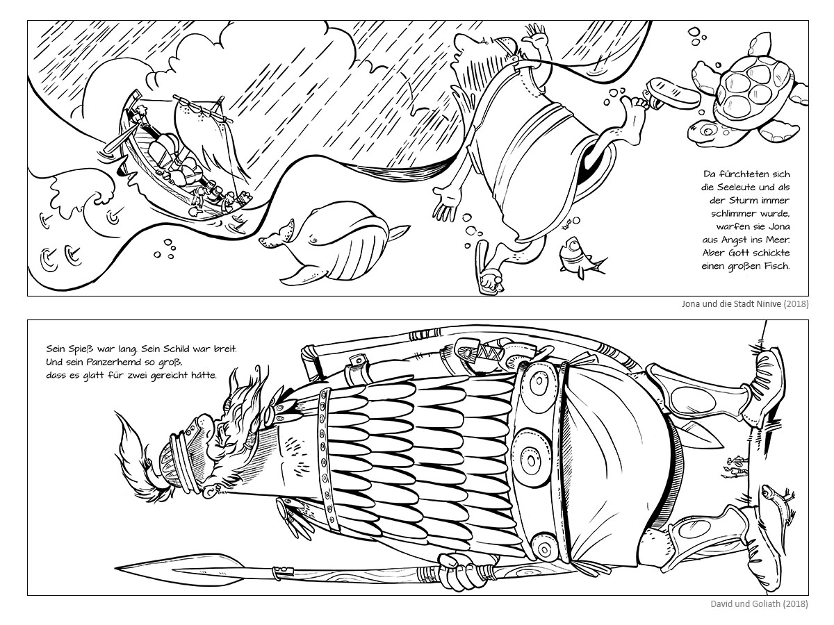 "Colouring Books ""Jonah and the City Niniveh"" & ""David and Goliath"""